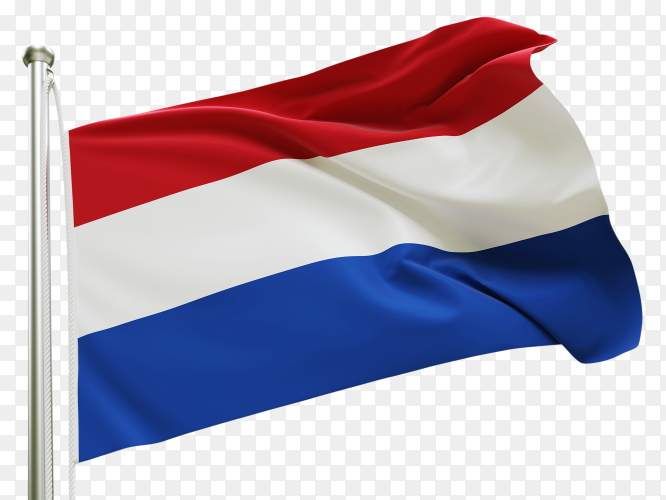 Flag Netherlands waving on transparent background PNG