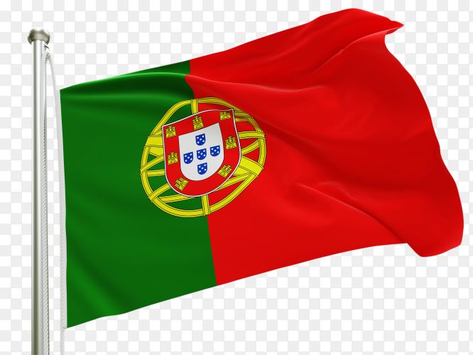 Flag Portugal waving on transparent background PNG