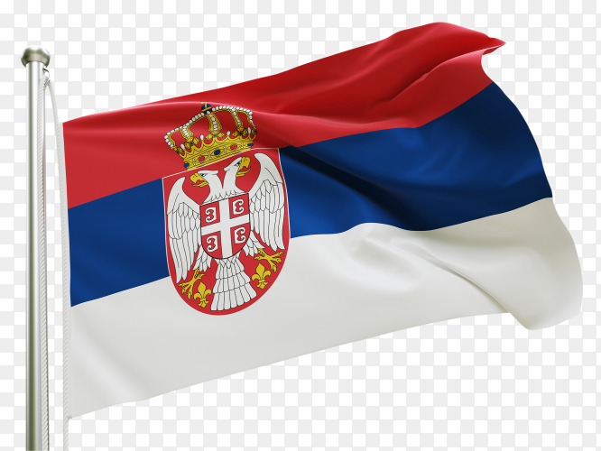 Flag Serbia waving on transparent background PNG