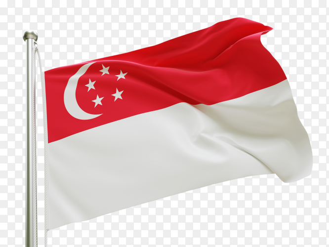 Flag Singapore waving on transparent background PNG