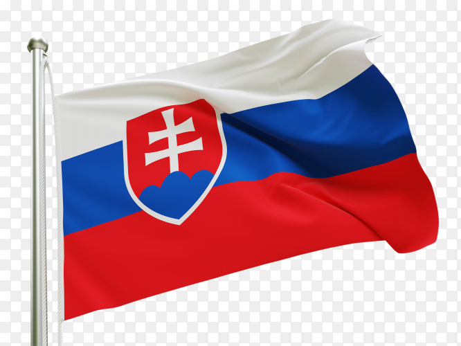 Flag Slovakia waving on transparent background PNG