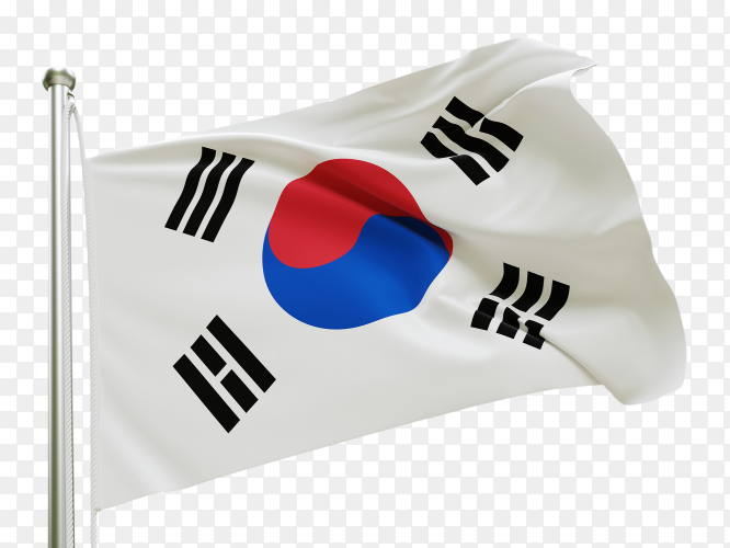 Flag South Korea waving on transparent background PNG