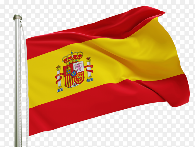 Flag Spain waving on transparent background PNG