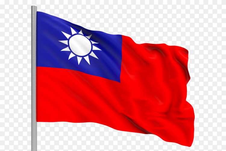 Flag Taiwan waving on transparent background PNG