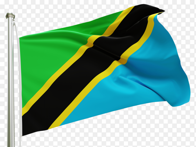 Flag Tanzania waving on transparent background PNG