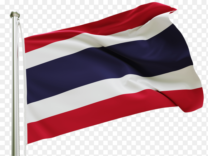 Flag Thailand waving on transparent background PNG
