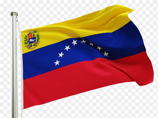 Flag Venezuela waving on transparent background PNG