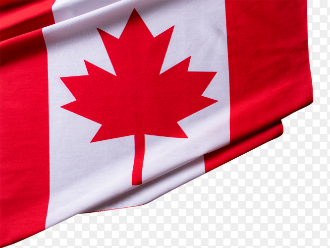 Flag of Canada waving on transparent background PNG