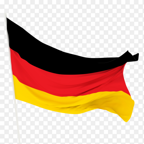 Flag of Germany waving on transparent background PNG