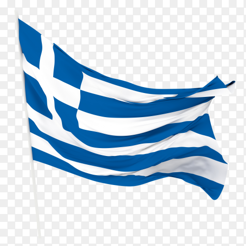 Flag of Greece waving on transparent background PNG