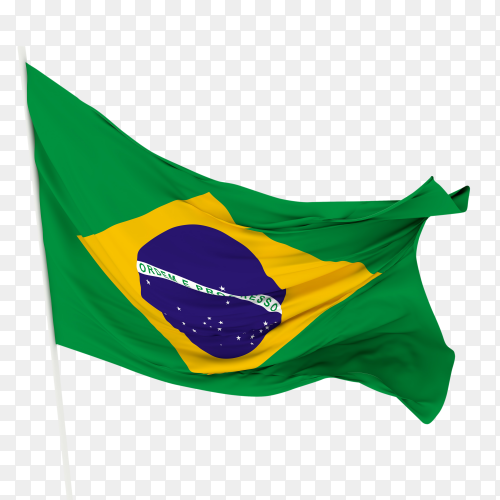 Flag of brazil waving on transparent background PNG