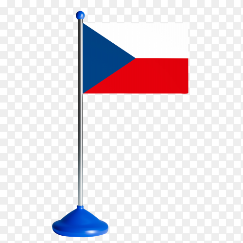 Flag of the Czech Republic on flagpole vector PNG