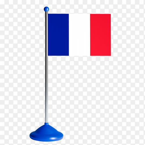 France flag on flagpole waving vector PNG
