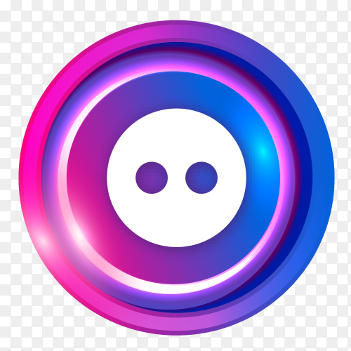 Flickr logo in Luminous circle on transparent PNG