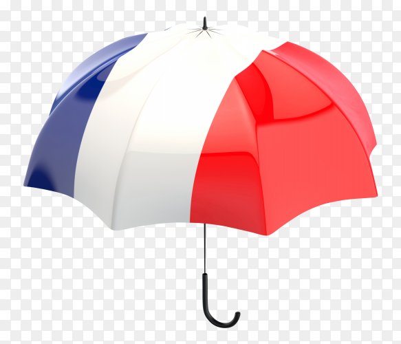 France flag shaped on an umbrella on transparent PNG