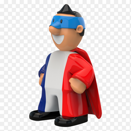 France flag shaped on super hero on transparent background PNG