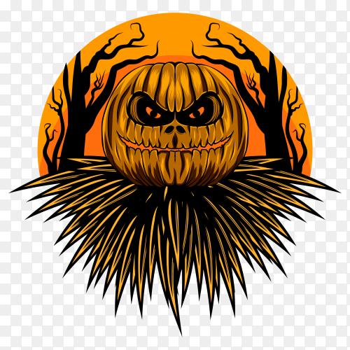 Frightful halloween pumpkin on transparent PNG