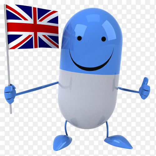 Funny Pill holding british flag on transparent background PNG