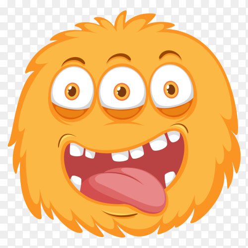 Funny orange monster on transparent PNG