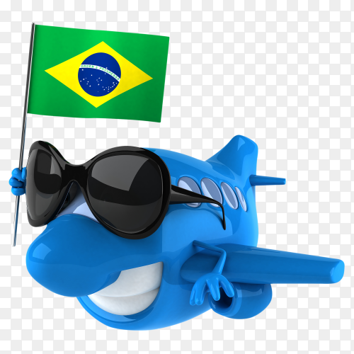 Funny plane holding Brazil flag on transparent background PNG