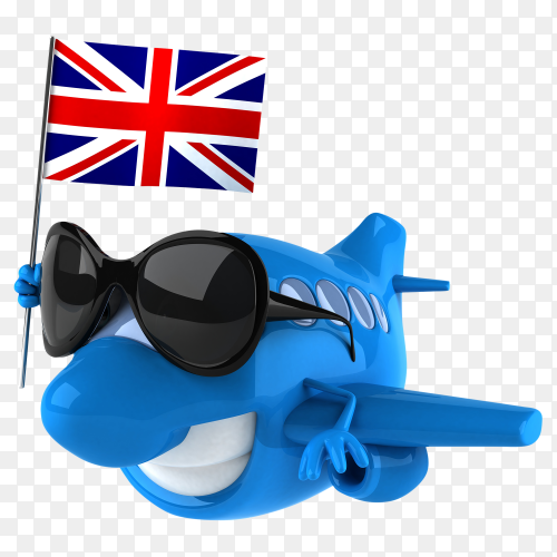 Funny plane holding British flag on transparent background PNG
