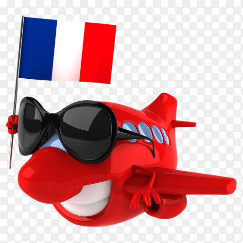 Funny plane holding France flag on transparent background PNG