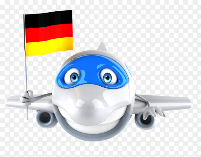 Funny plane holding German flag on transparent background PNG