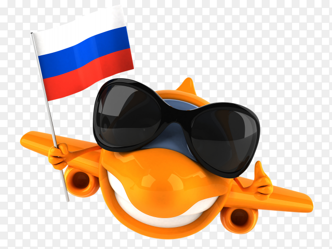 Funny plane holding Russia flag on transparent background PNG