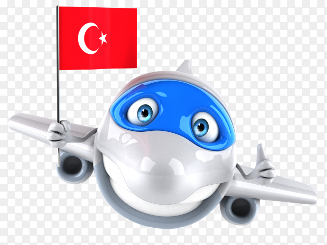 Funny plane holding Turkey flag on transparent background PNG