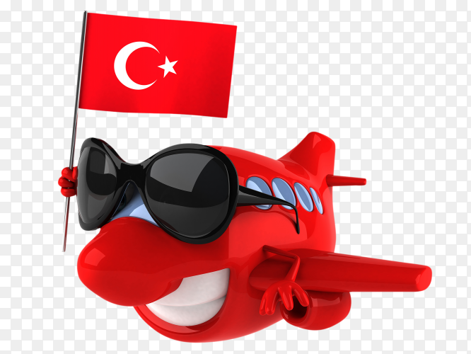 Funny plane holding turkish flag on transparent background PNG