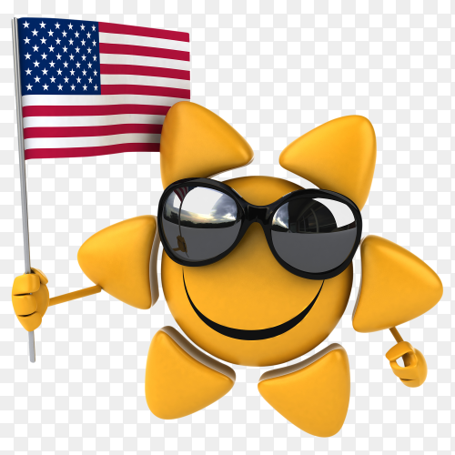 Funny sun glasses face holding American flag on transparent background PNG