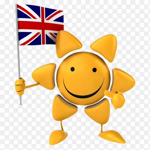 Funny sun holding British flag on transparent background PNG