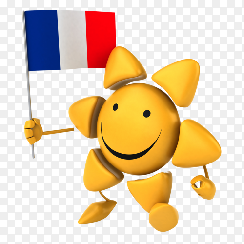 Funny sun holding France flag on transparent background PNG