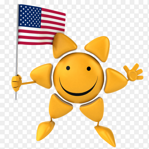 Funny sun holding USA flag on transparent background PNG