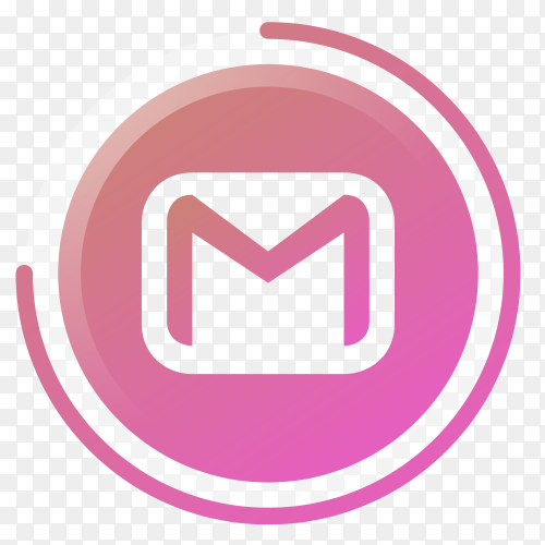 G-mail icon gradient social media vector PNG
