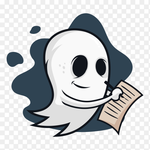Ghost writer Halloween on transparent PNG