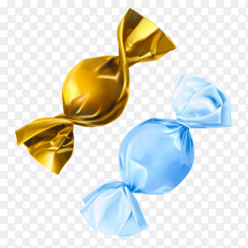 Gold and blue candy vector PNG