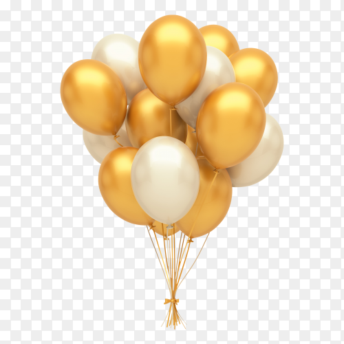 Gold and silver balloons Clipart PNG