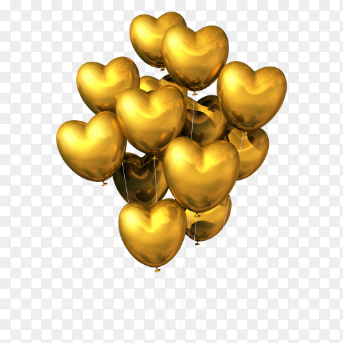 Gold heart shaped balloons isolated white vector PNG