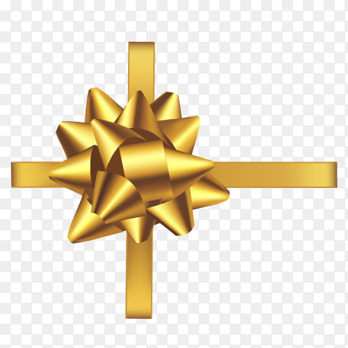 Gold ribbin and bow vector PNG