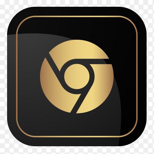 Golden google chrome logo vector PNG