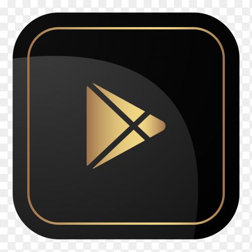 Golden google play logo on transparent PNG