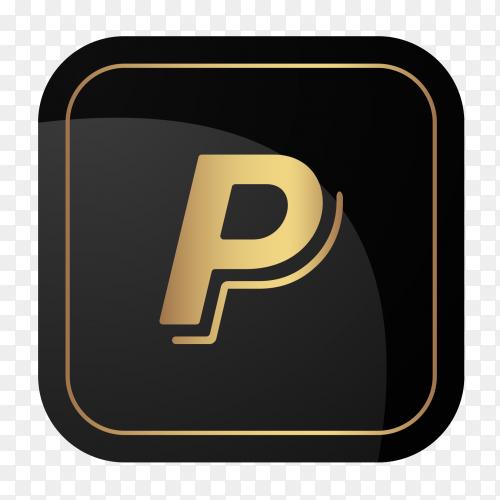 Golden Paypal logo on transparent PNG