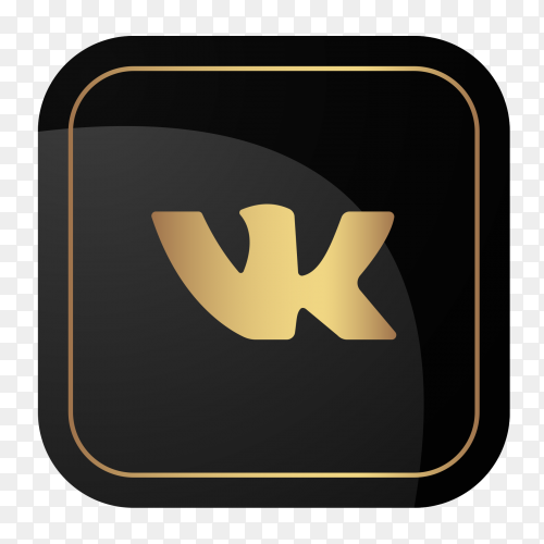 Golden social media logo VK vector PNG