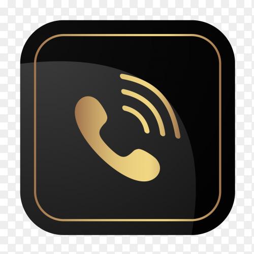 Golden social media logo Viber Clipart PNG