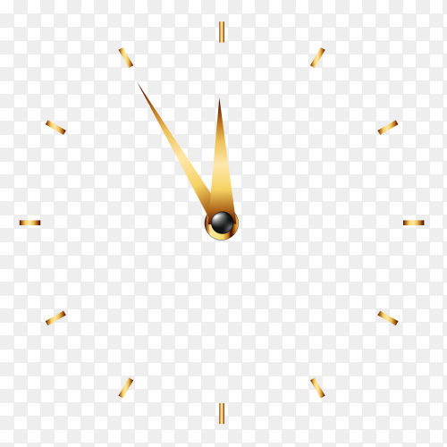 Golden wall clock on transparent background PNG