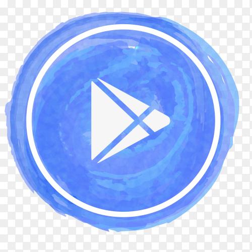 Google Play icon watercolor vector PNG
