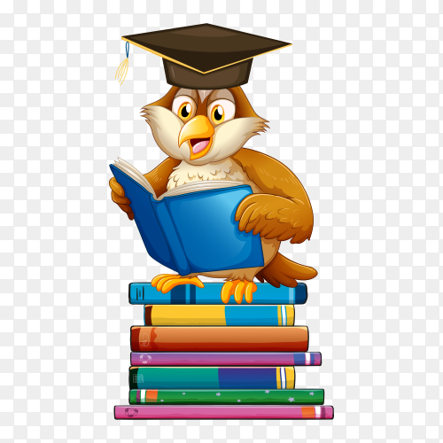 Graduated Bird reading book Vector PNG