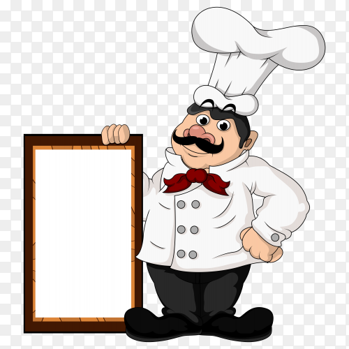 Grand chef holding white paper on transparent PNG