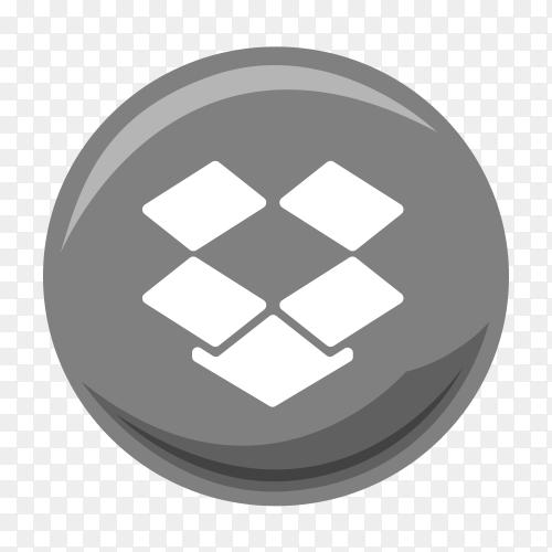 Gray Dropbox icon logo vector PNG